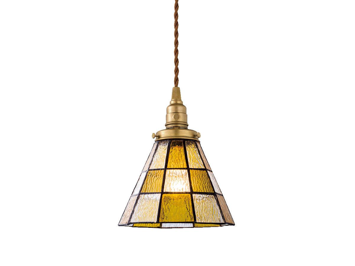 CUSTOM SERIES Brass Pendant Light × Stained Glass Checker